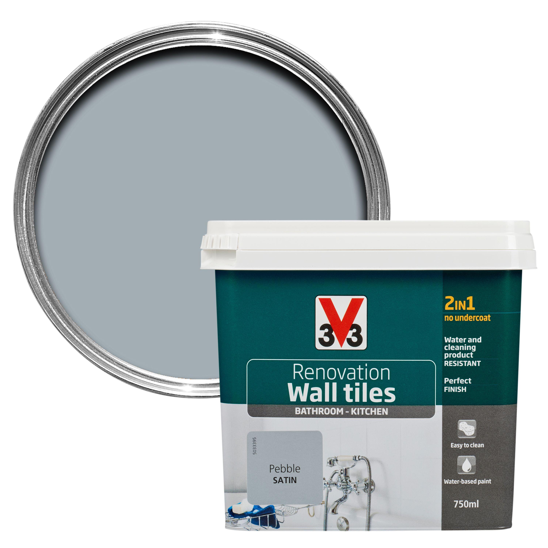 V33 Renovation Pebble Satin Wall Tile Paint0.75L | Departments | DIY ...