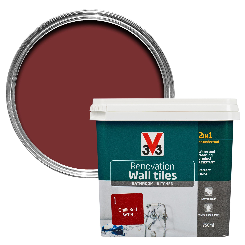 Chilli Red Kitchen Tile Paint