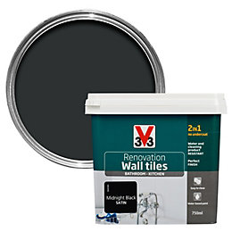 V33 Renovation Midnight black Satin Wall tile paint0.75L