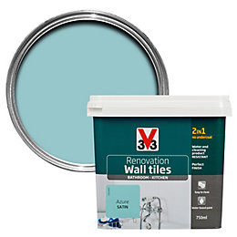 V33 Renovation Azure Satin Wall Tile Paint0.75L
