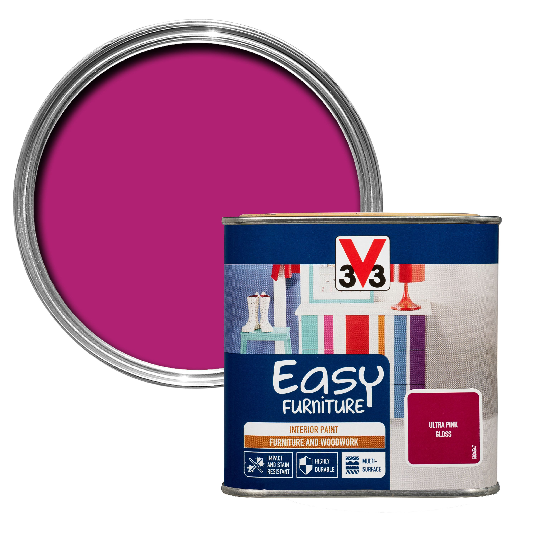 V33 Easy Ultra Pink Gloss Furniture Paint 500 Ml -