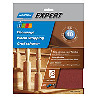 Norton Expert 40 Grit Coarse Sandpaper sheet, Pack of 3