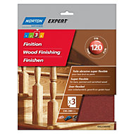 Norton Expert 120 Grit Fine Sandpaper sheet, Pack of 3