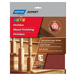 Norton Expert 120 Fine Sandpaper Sheet, Pack of