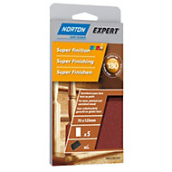 Norton 180 Grit Extra fine Sanding block refill, Pack of 5