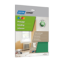 Norton 80 Medium Sandpaper Sheet, Pack of 3