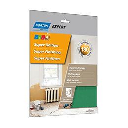 Norton 180 Extra Fine Sandpaper Sheet, Pack of