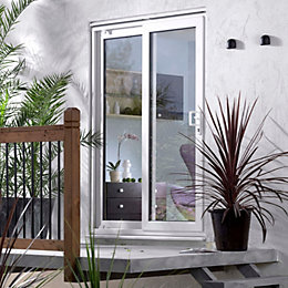 6ft White PVCu Glazed Sliding Patio Door, (H)2050mm