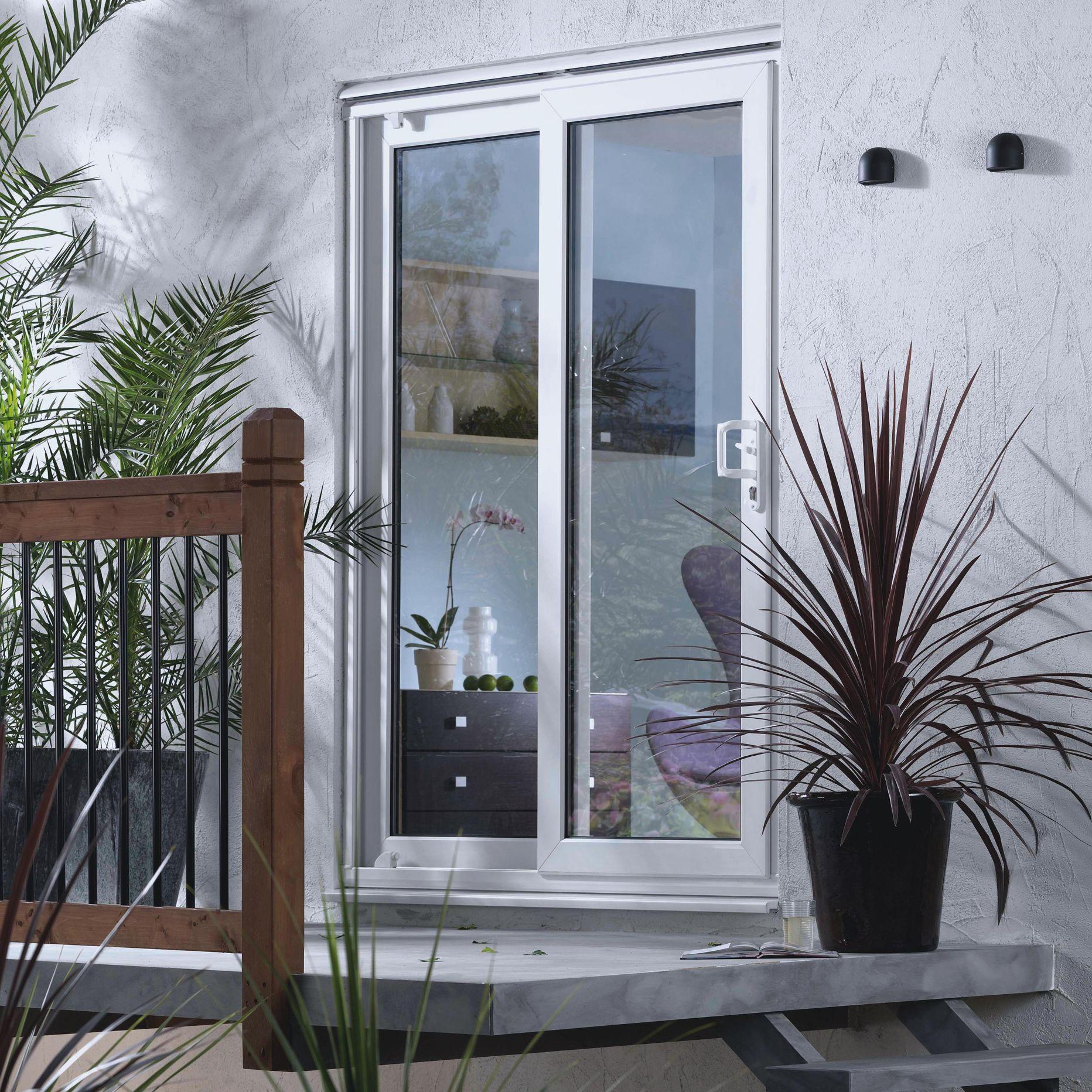 6ft White PVCu Glazed Fixed Patio Door Panel,