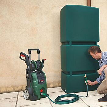 Bosch AQT 45-14X Pressure Washer 140 Bar being connected to a water butt