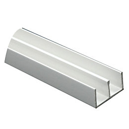 White PVC Double U profile (H)8mm (W)13mm (L)1m