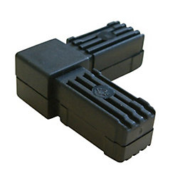 Black PVC Square Tube Connectors (H)20mm (W)20mm