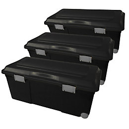 Black 75L Plastic Large Stackable Storage trunk, Set