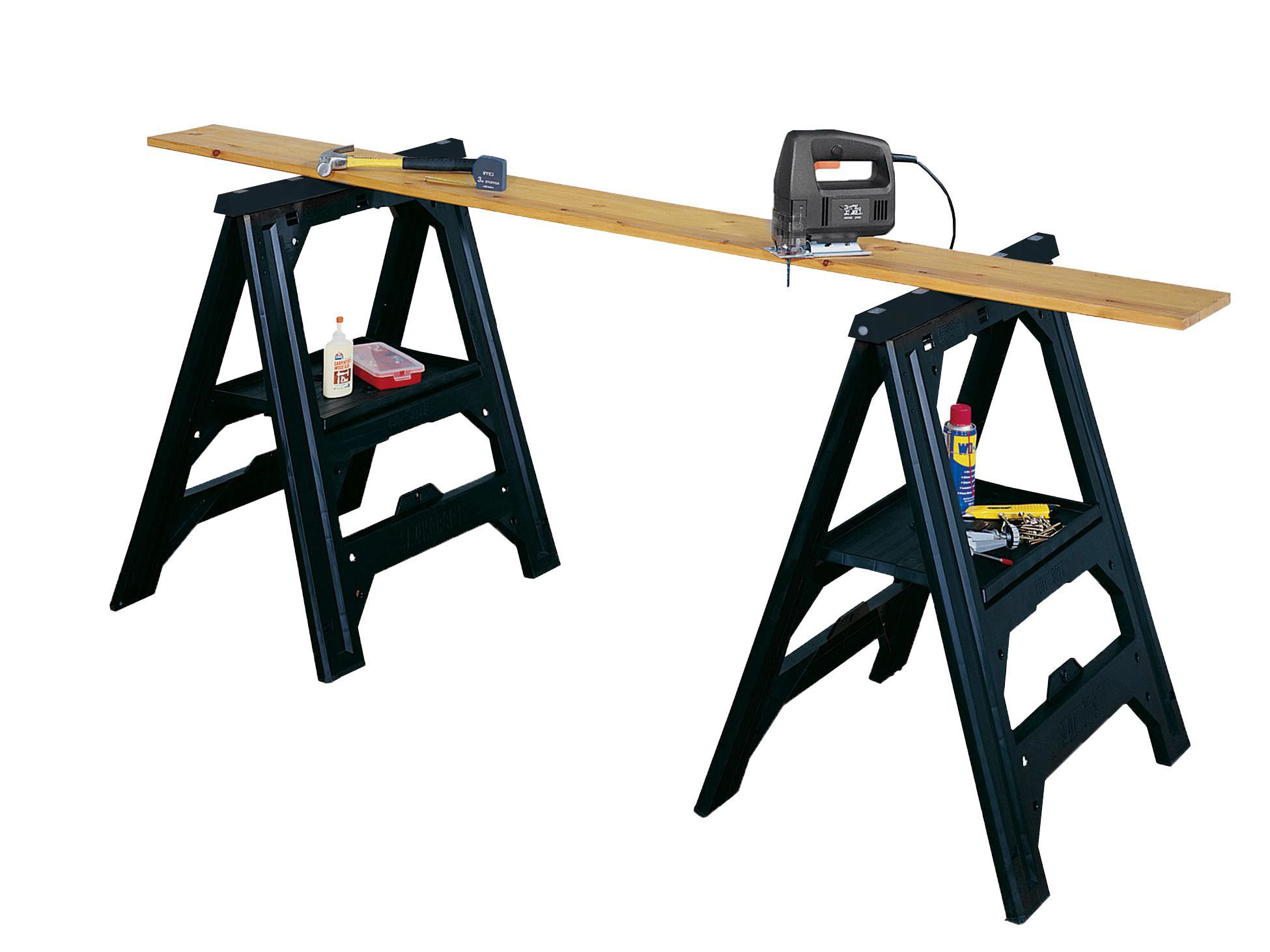 Stanley Foldable Adjustable Sawhorse Pack Of 2