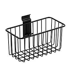 Wall mountable Black Metal basket (L)130mm (W)200mm (D)
