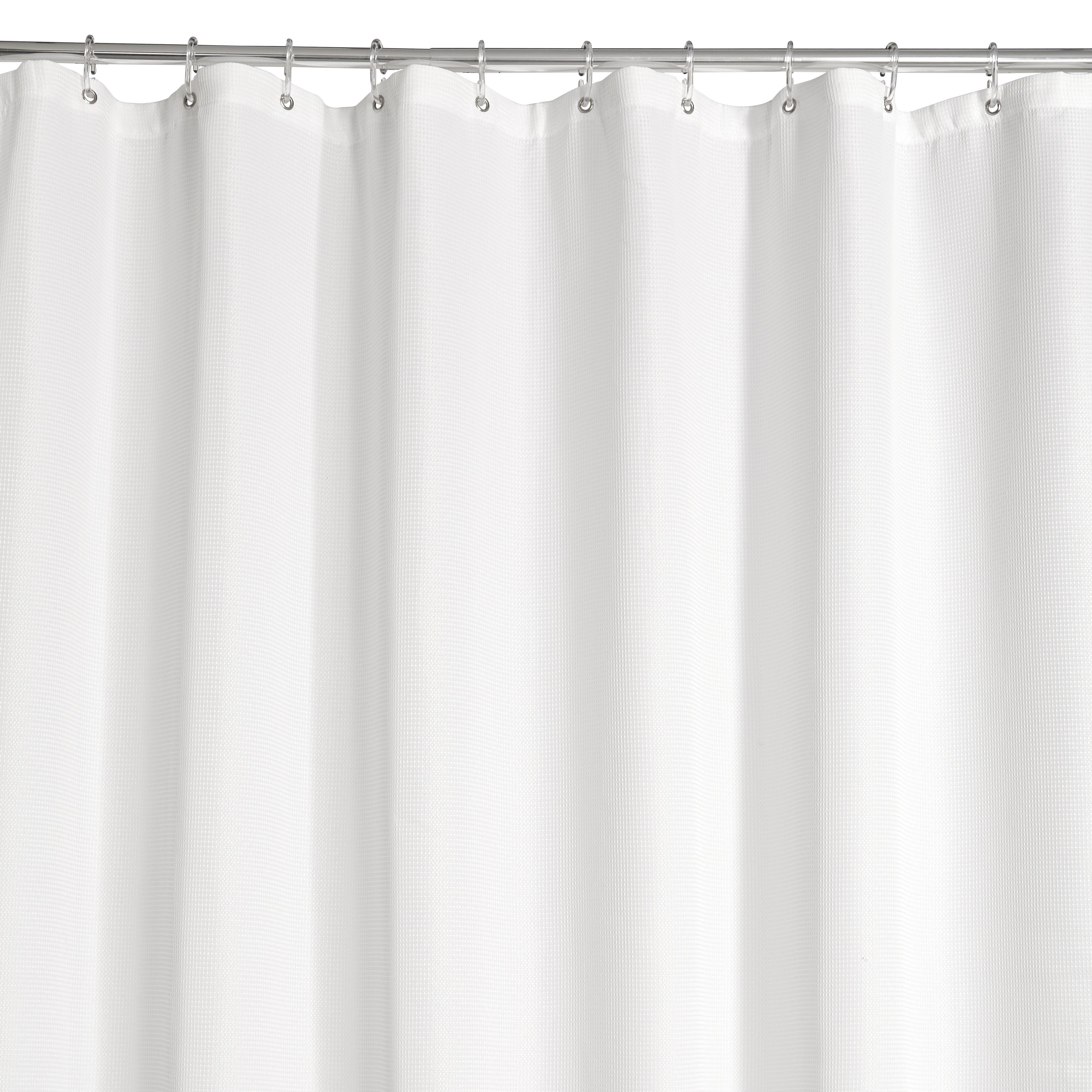 White waffle shower curtain l 2000 mm departments diy for B q bathroom accessories
