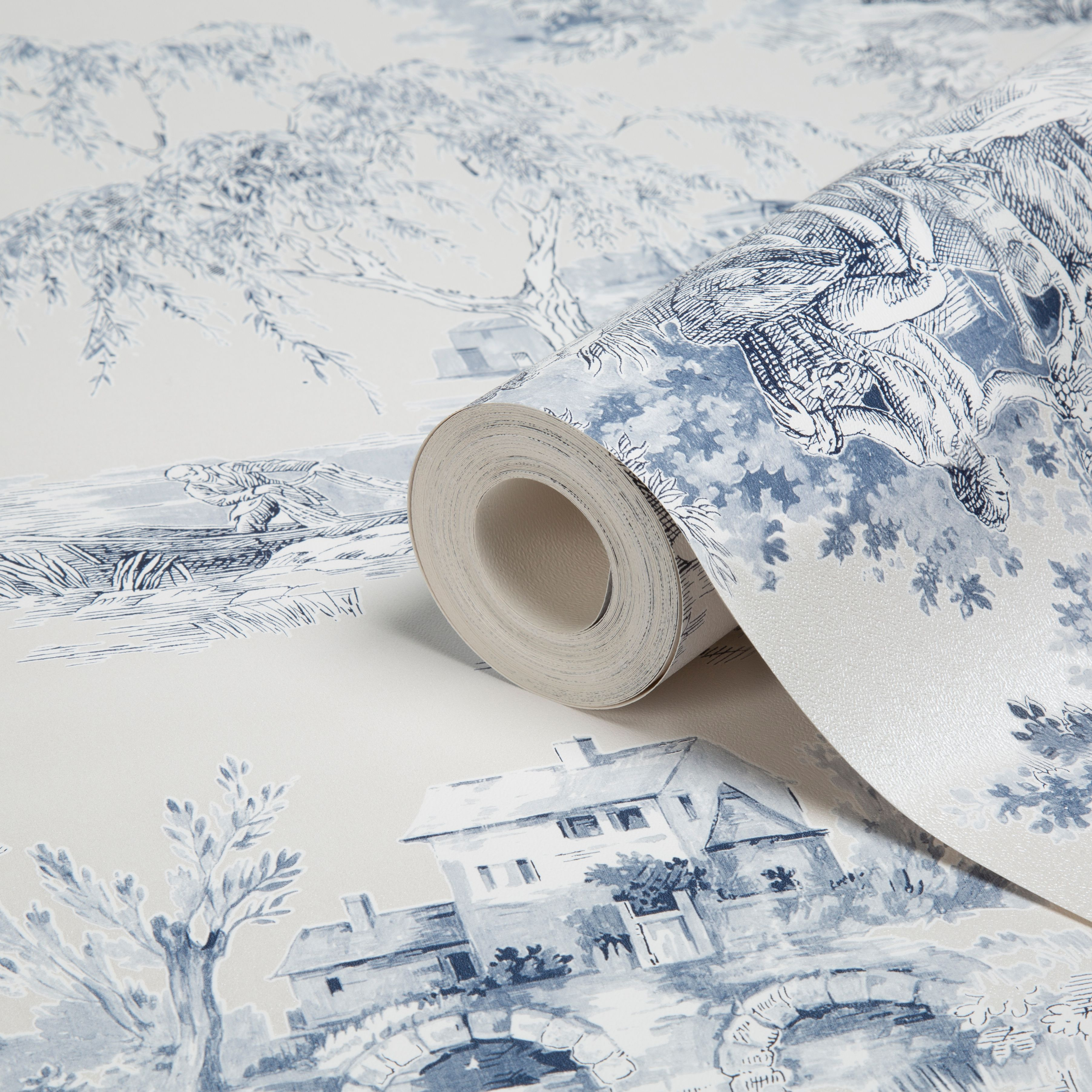 Gold Blue Toile Wallpaper