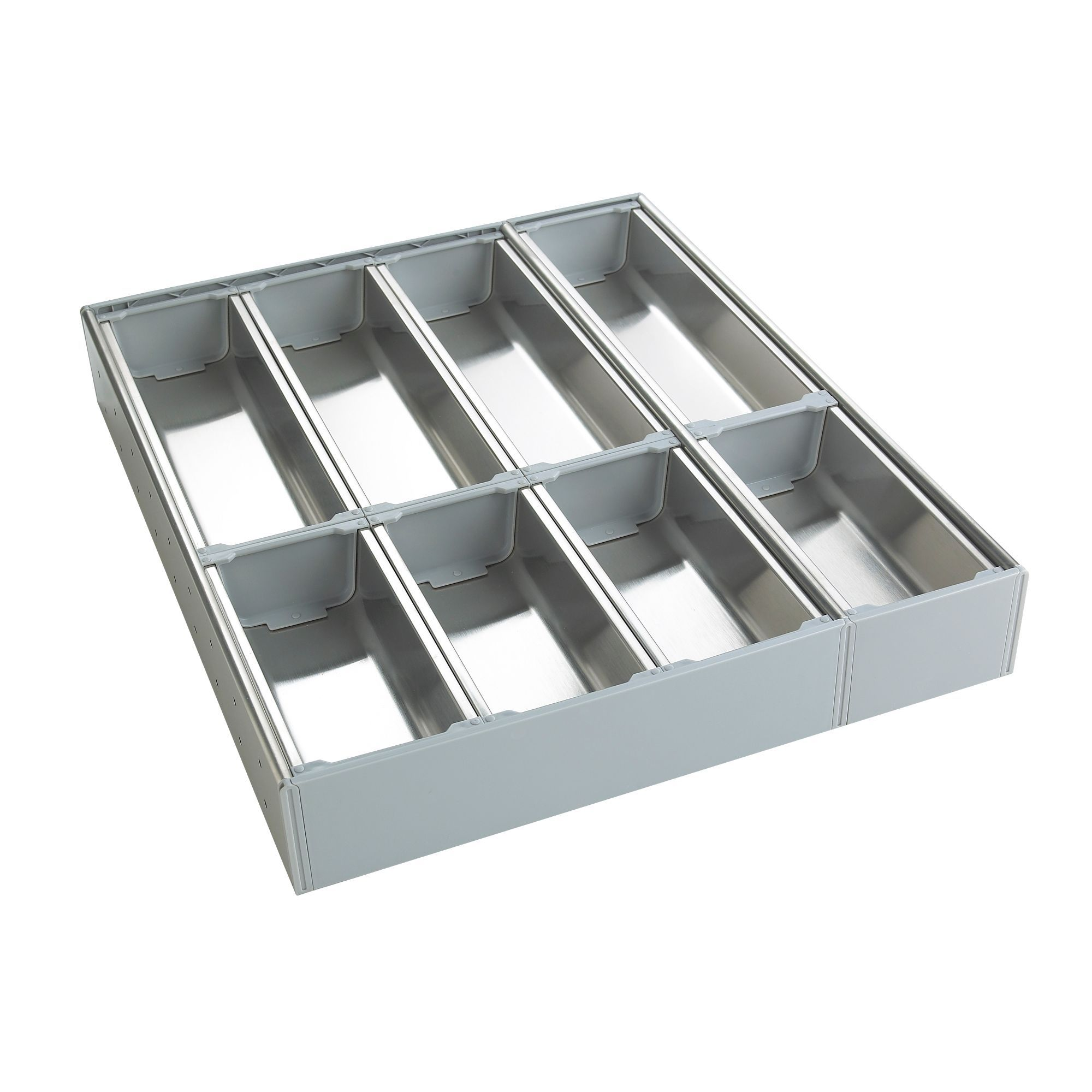 Cooke Lewis Silver Stainless Steel Kitchen Utensil Tray Departments Diy At B Q
