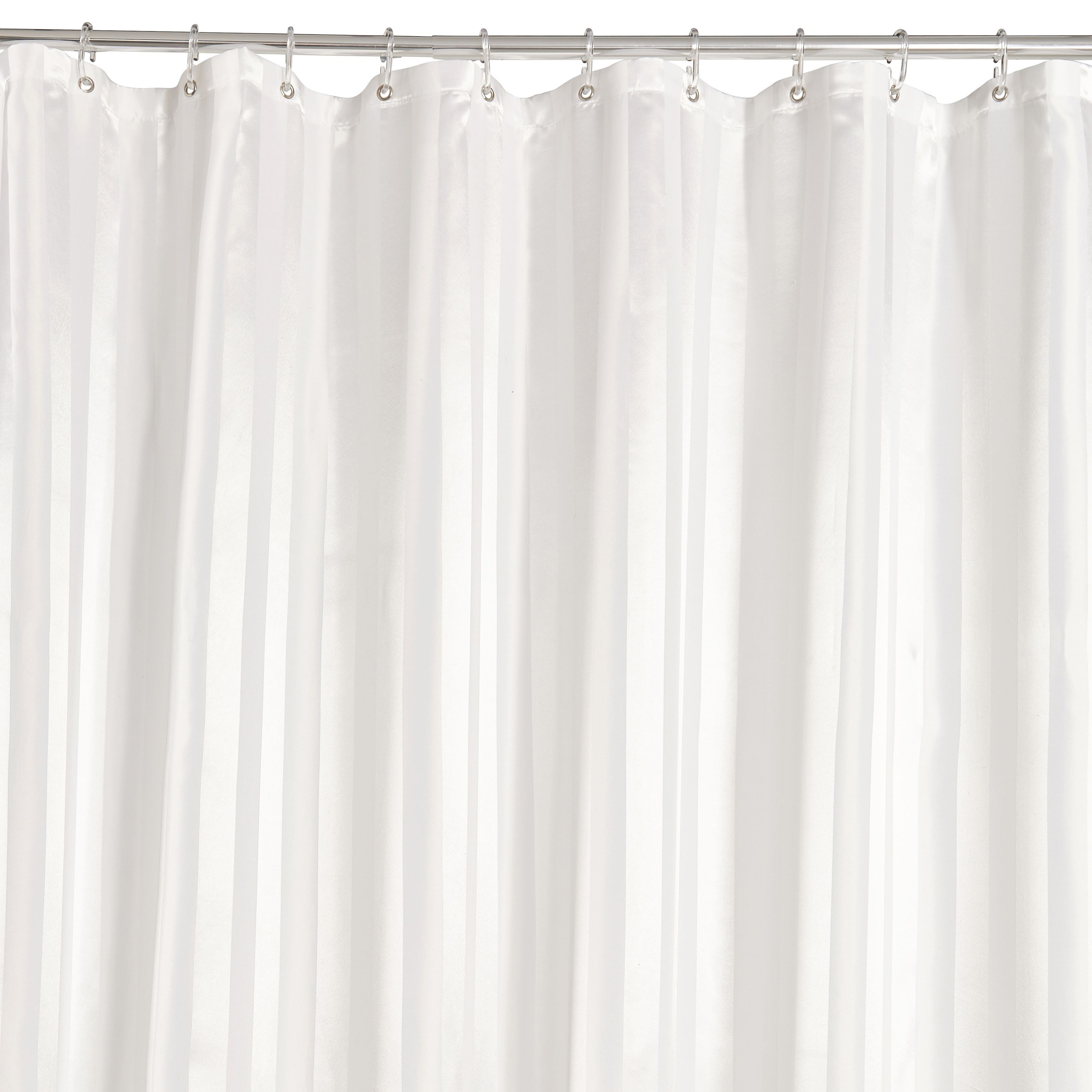 White Striped Shower Curtain L 2000 Mm Departments Diy At B Q