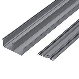Silver Effect Sliding Wardrobe Door Track (L)1800mm, Pack