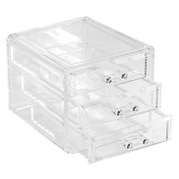 Cooke & Lewis Plastic Clear 3 Drawer Organiser