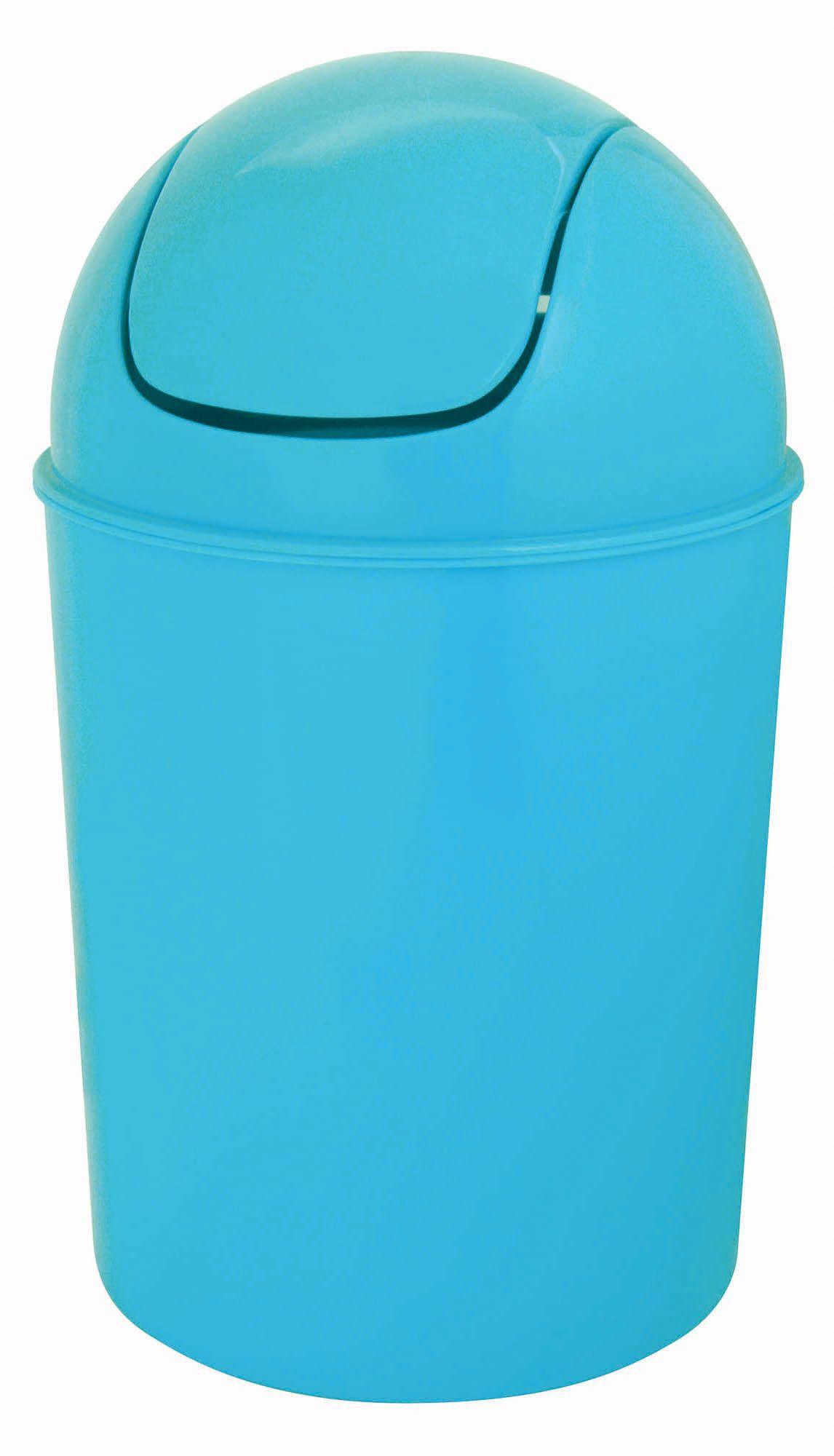 Flip top blue plastic bathroom bin 5l departments for Blue bathroom bin