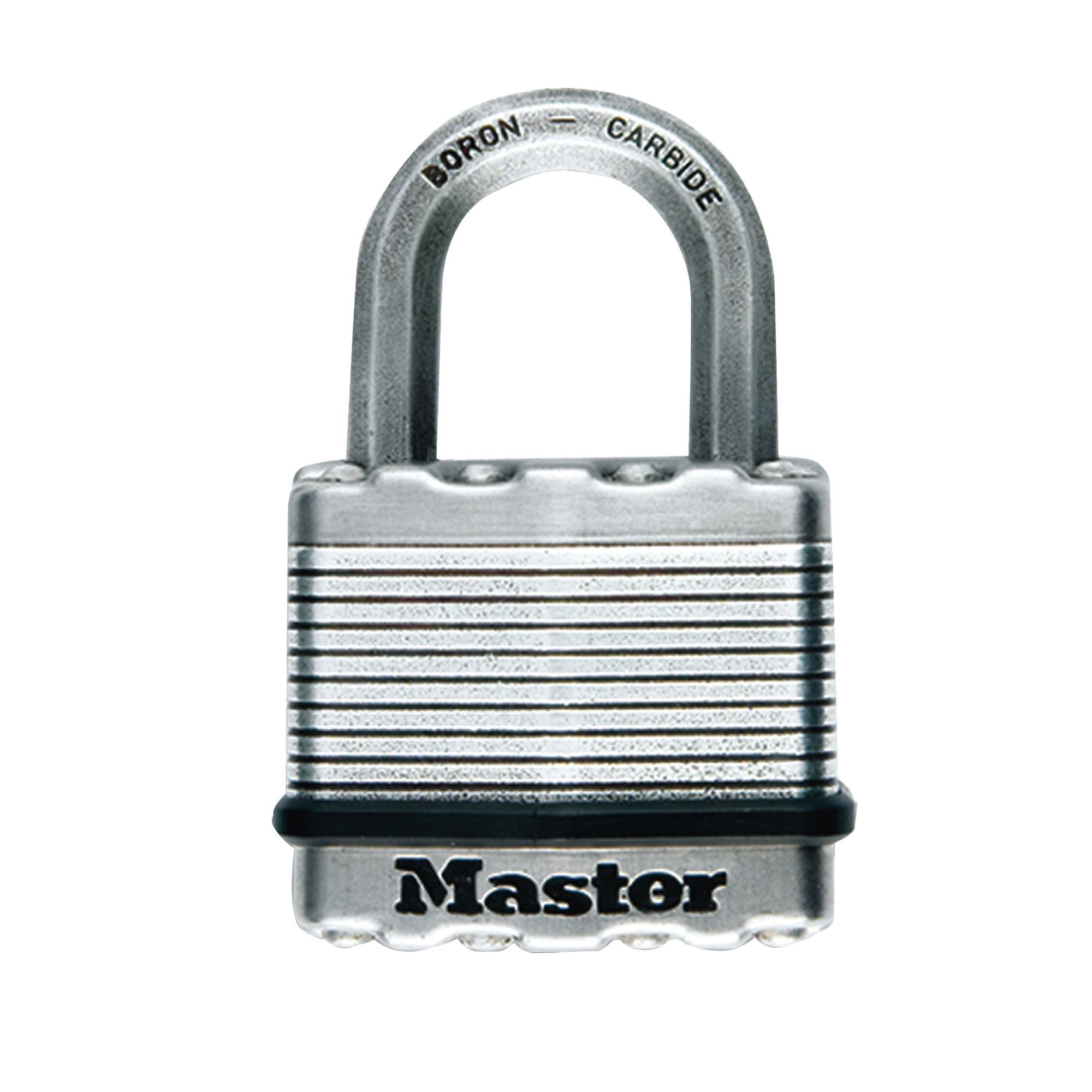 Master Lock Excell Stainless steel Double ball bearing locking Octagonal  open shackle Padlock (W)50mm | Departments | DIY at B&Q