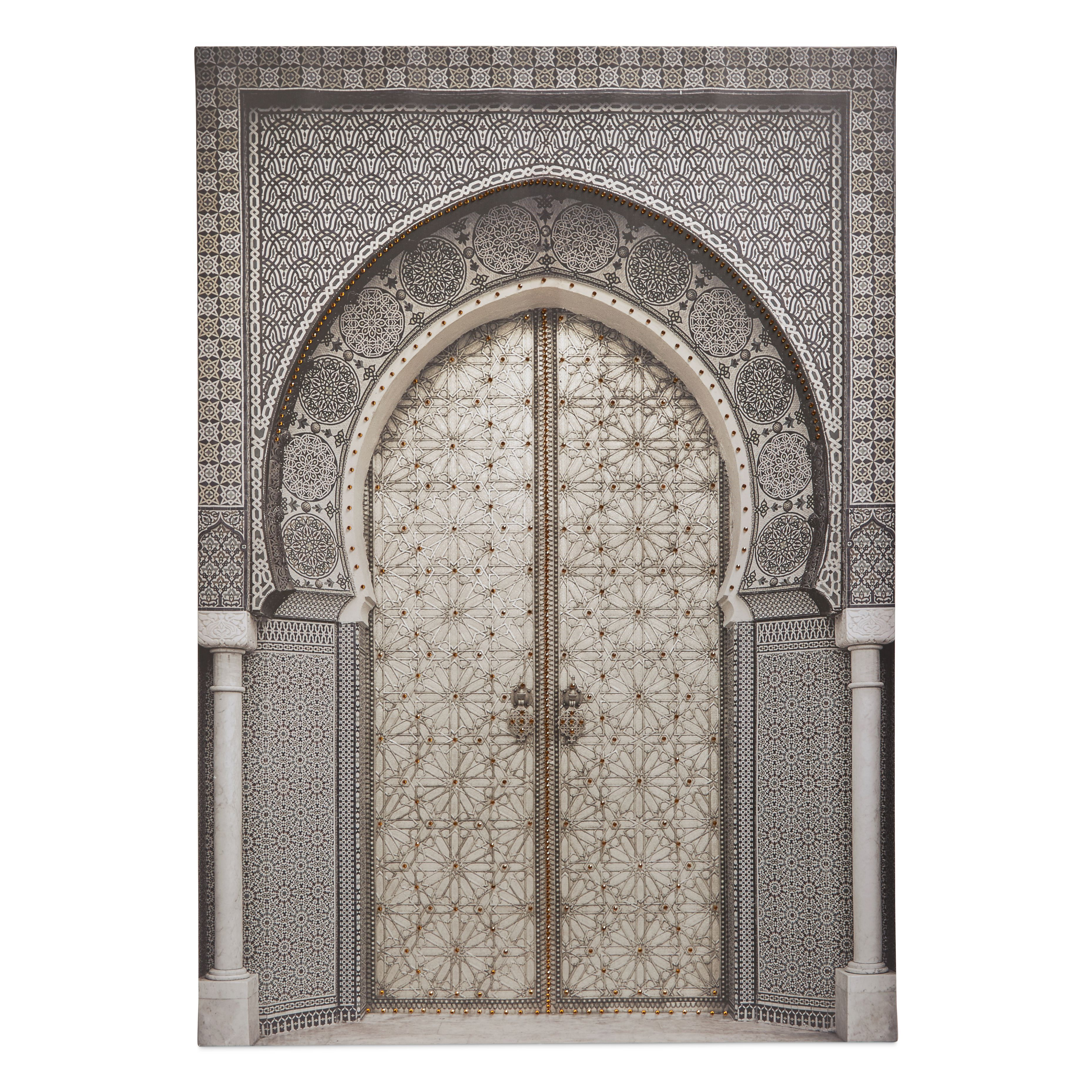 Oriental Door Grey Embellished Canvas W 925mm H 650mm