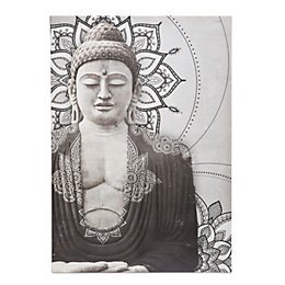 Buddha Grey Embellished Canvas (W)925mm (H)650mm