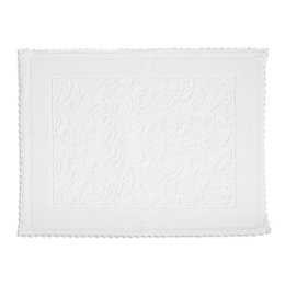 Marinette Saint-Tropez Platinum White Floral Cotton Bath Mat