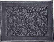 Marinette Saint-Tropez Platinum Dark grey Floral Cotton Bath mat (L)500mm (W)700mm