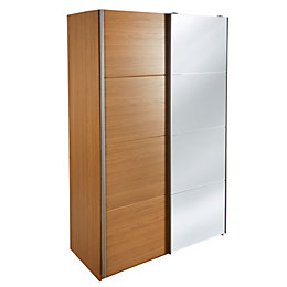 Kendal Oak effect 2 door Mirror wardrobe (H)2054mm