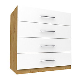 Darwin White & Oak Effect 4 Drawer Chest