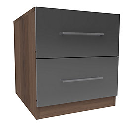 Darwin Anthracite & Walnut Effect 2 Drawer Bedside