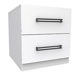 Darwin Handpicked White 2 Drawer Bedside Chest (H)546mm