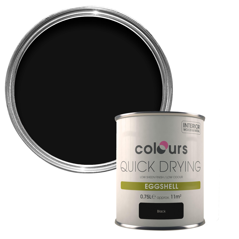 Colours Quick Dry Black Eggshell Wood Amp Metal Paint 750 Ml