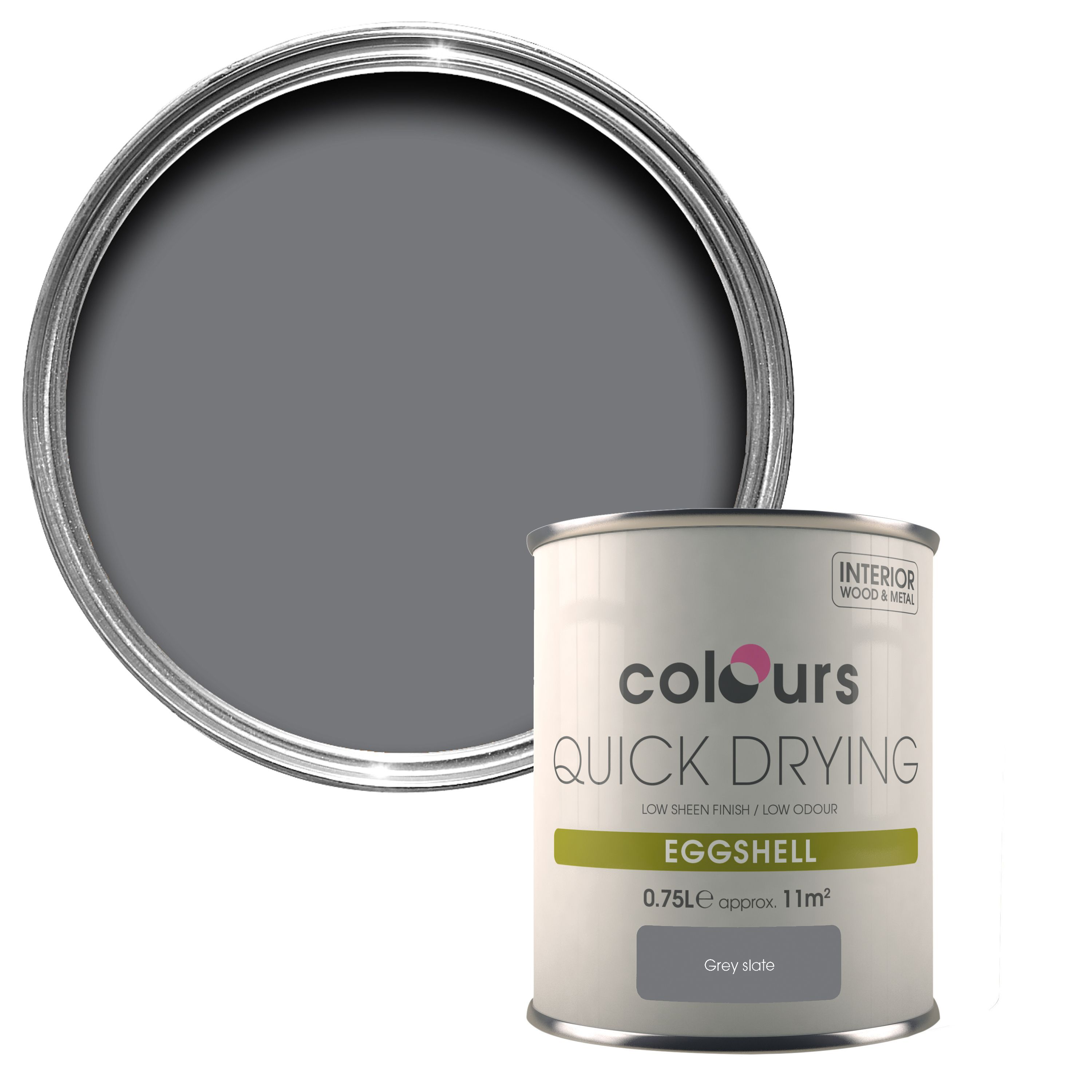 Colours Grey Slate Eggshell Wood & Metal Paint 750 ml | Departments | DIY  at B&Q