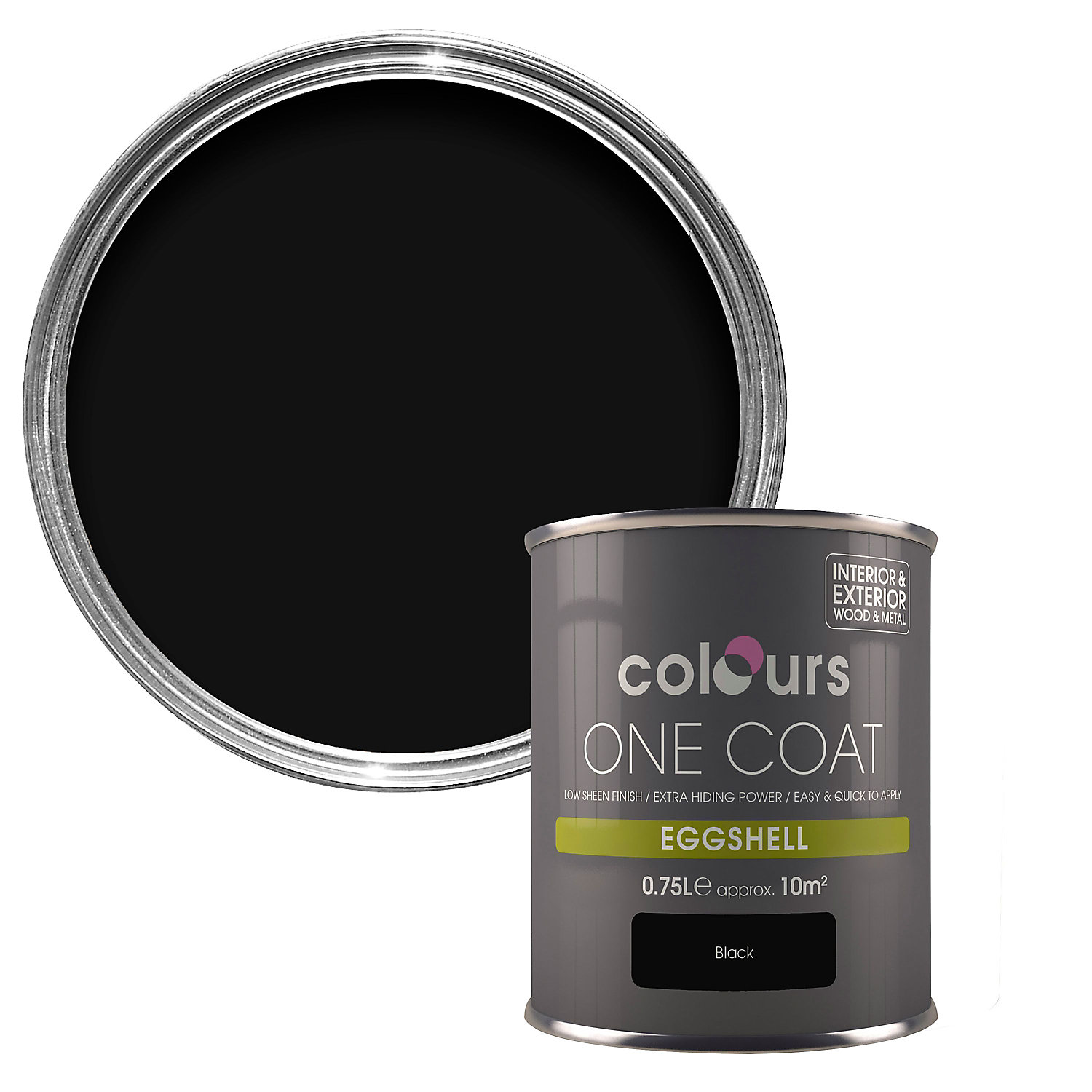 Colours One coat Black Eggshell Wood & metal paint 750 ml