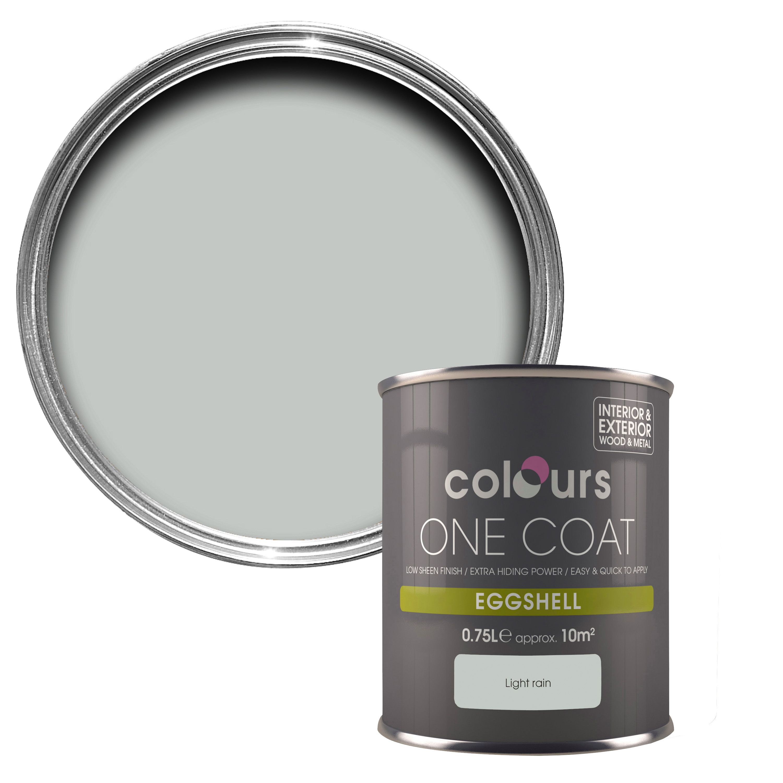 Colours One Coat Light Rain Eggshell Metal Wood Paint 0 75l Departments Diy At B Q