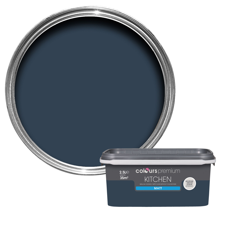 Colours Kitchen Deep Blue Sea Matt Emulsion Paint 2.5L | Departments | DIY  at B&Q