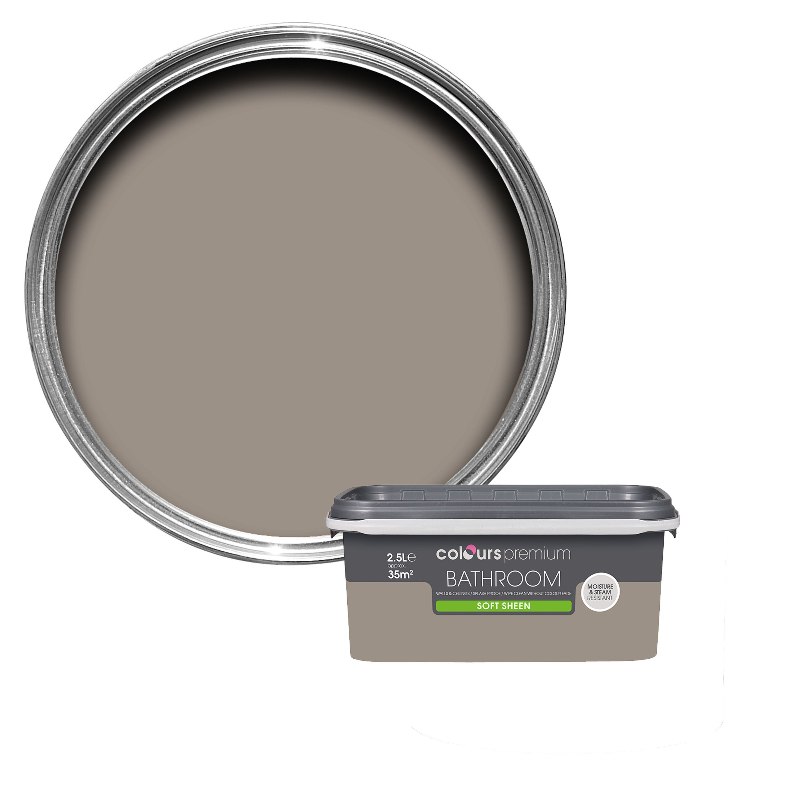 Colours Bathroom Taupe Soft Sheen Emulsion Paint 2.5L | Departments | DIY  at B&Q