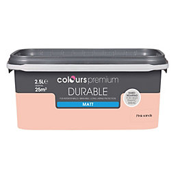 Colours Durable Pink sands Matt Emulsion paint 2.5L