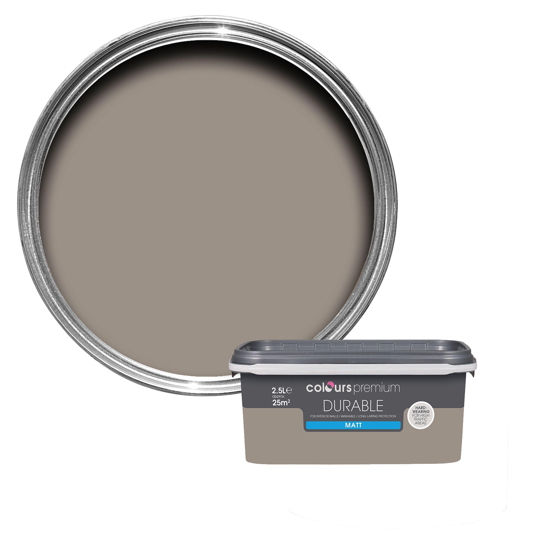 Colours Durable Taupe Matt Emulsion Paint 2.5L | Departments | DIY at B&Q