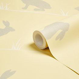 Colours Nell Mustard Conversational Wallpaper
