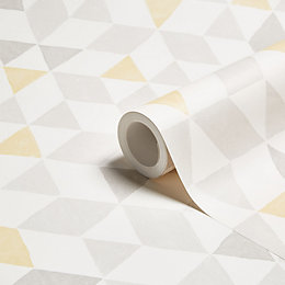 Colours Triangles Soft lemon Geometric Wallpaper
