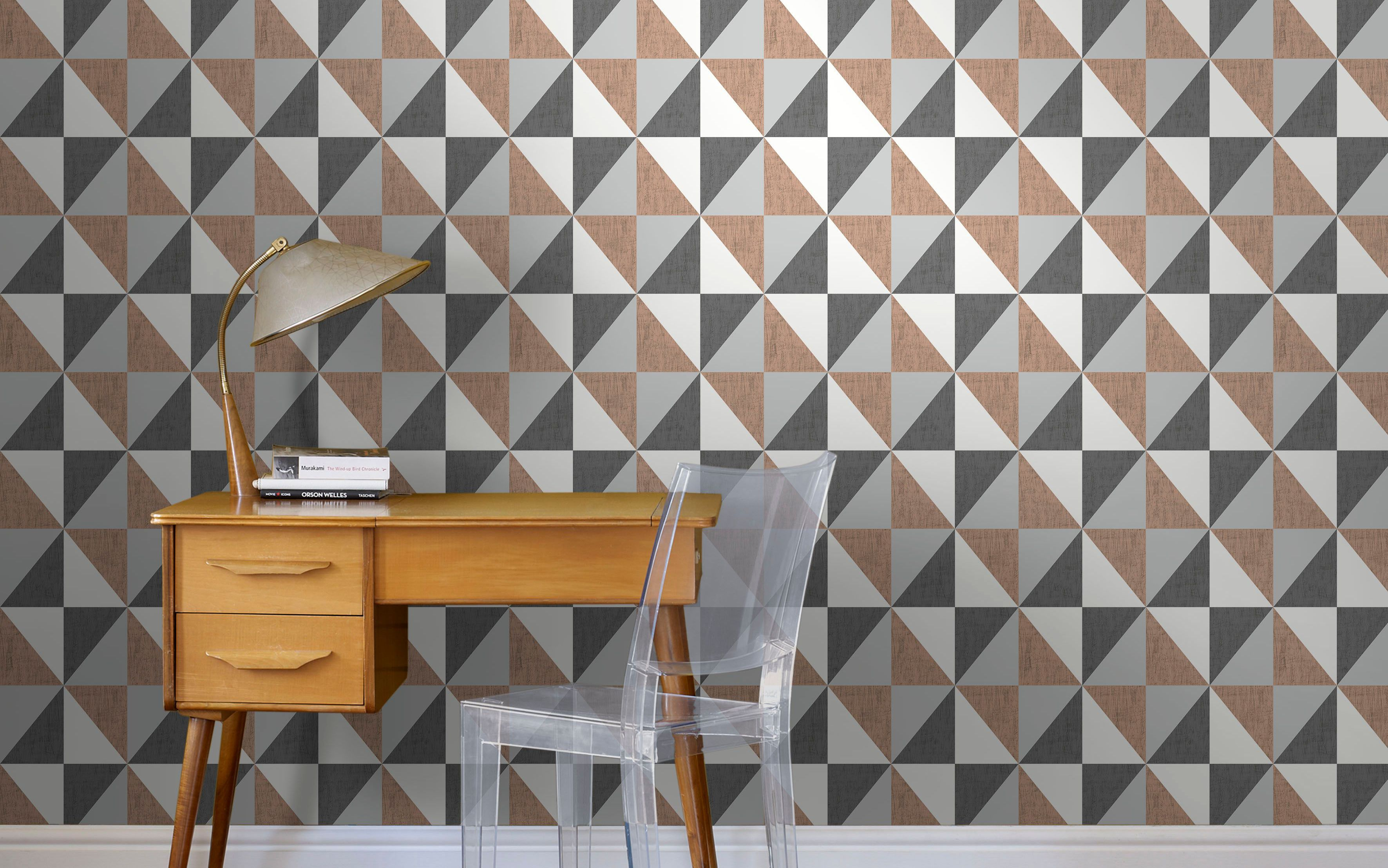 Walls papered with colours mosaic copper navy and pewter geometric wallpaper