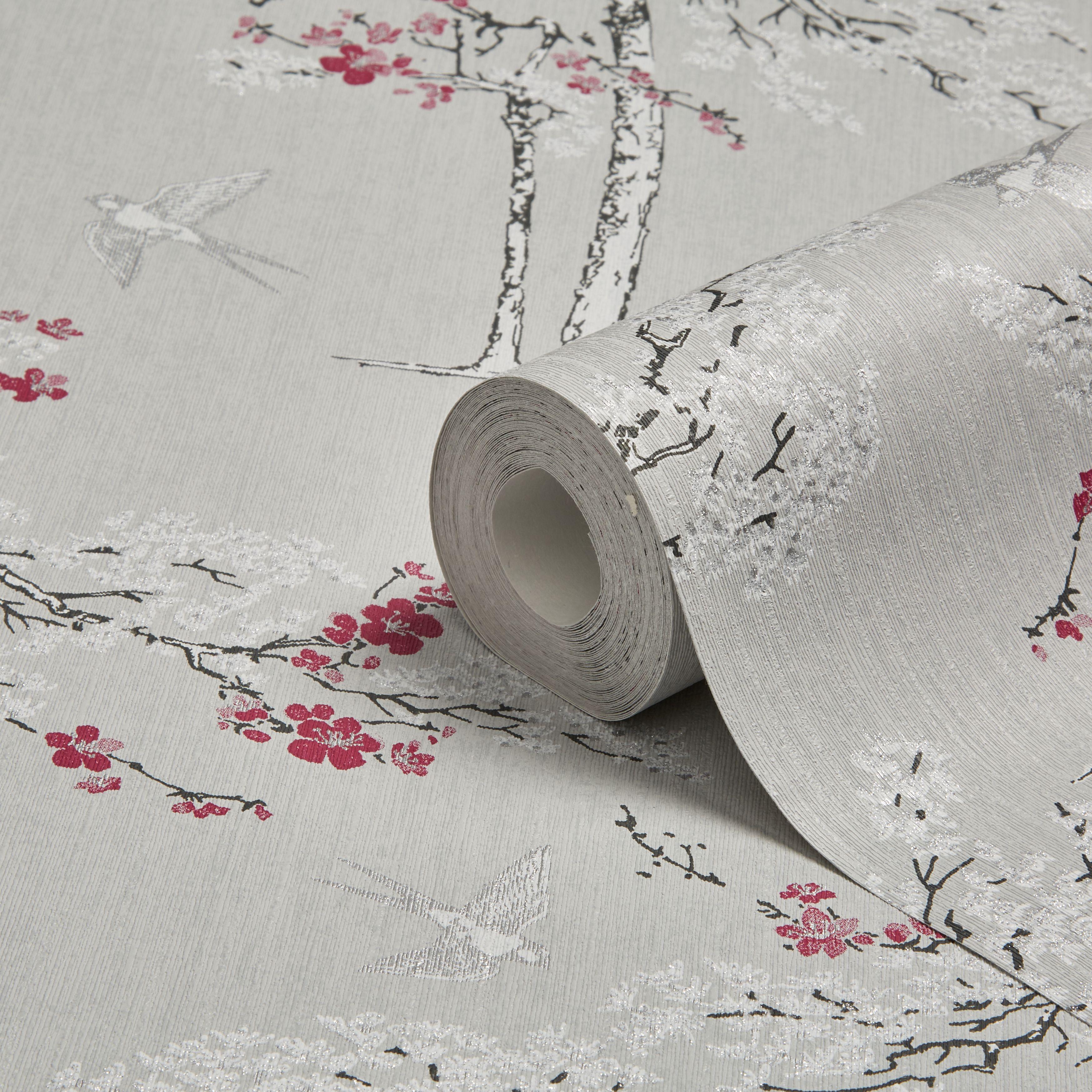 colours blossoming grey purple foliage bird wallpaper. Black Bedroom Furniture Sets. Home Design Ideas