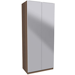 Darwin Walnut effect 2 door Mirror wardrobe (H)2350mm