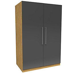 Darwin Anthracite & Oak Effect 2 Door Wardrobe
