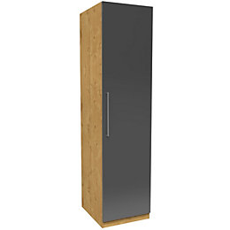 Darwin Anthracite & Oak Effect 1 Door Wardrobe